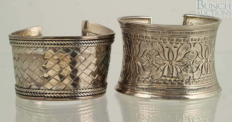 (2) engraved sterling silver cuff bracelets, Thailand, Indonesia, 3.57 TO