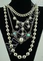 (4) sterling silver necklaces, 2 w/stones, longest 30