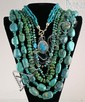 (5) turquoise necklaces, 1 w/sterling silver mounts