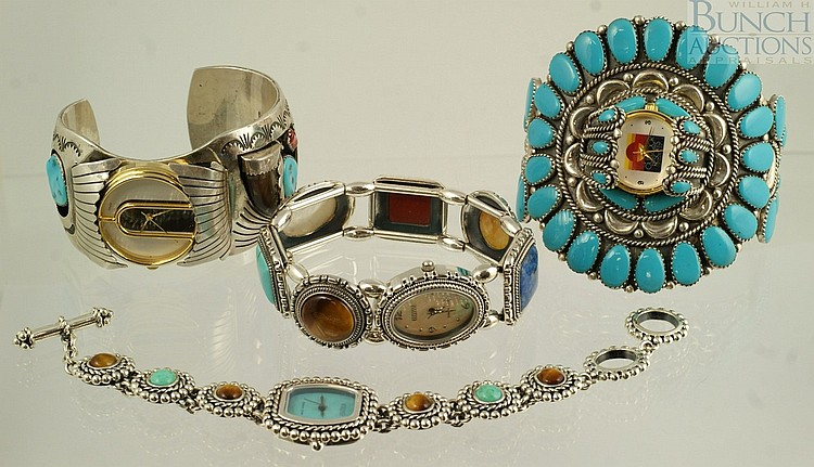 (4) silver wrist watches, 3 marked sterling, 1 unmarked, all with turquoise or other stones