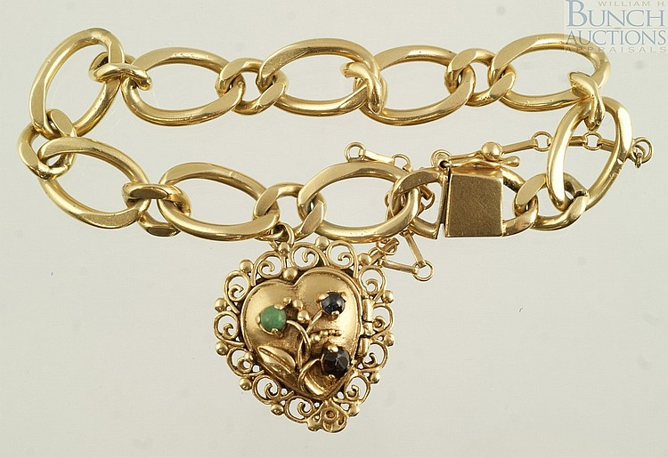 14K YG bracelet with heart charm with filigree surround, set w/3 stones, 29