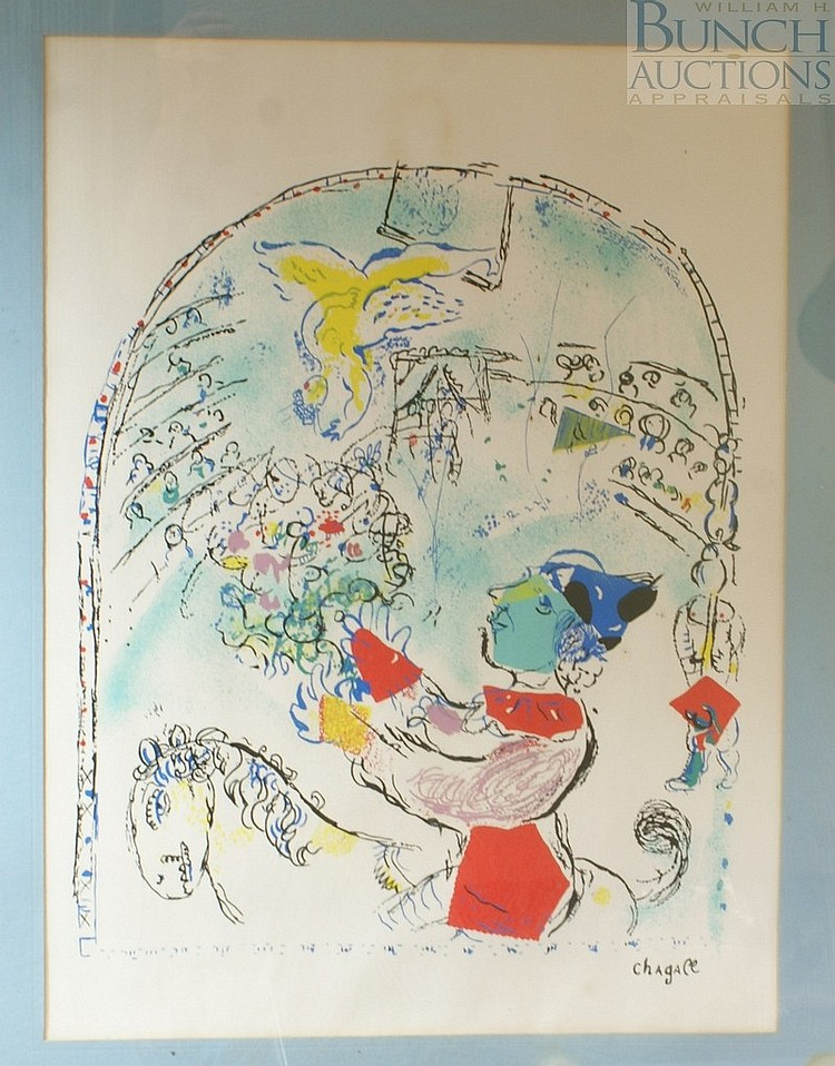 Marc Chagall, French, 1887-1985, The Circus With The Angel, Mourlot 543, lithograph in colors, signed in plate, laid paper, no water...