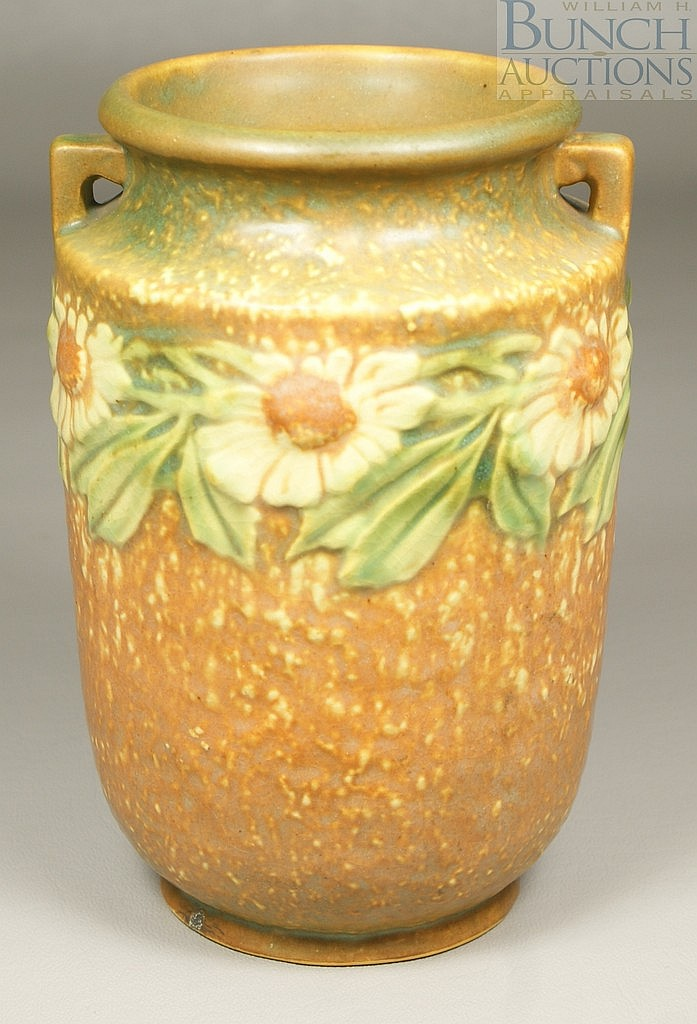 "Roseville Dahlrose Vase, 360-6, 6"" tall, paper label"
