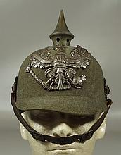 Imperial German felt pickelhaube, M1915, split in spike base, generally excellent