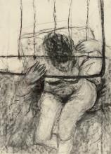 Judy Lupas (American, PA, 20th Century), charcoal, Seated Woman, 40-1/2