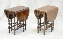Pair of diminutive William and Mary style gate leg drop leaf tables, 18