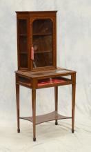 Inlaid mahogany Edwardian display cabinet on vitrine stand, 56