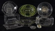 (9) Pieces religious themed early American pattern glass, mostly trays and plates, rare oval footed Give Us This Day Our Daily Bread...