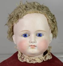 Unmarked German turned shoulder head bisque doll, probably Alt Beck Gottschalck, cloth body with leather hands and feet, closed mout...