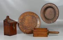 (4) Pieces wooden ware: Round Flemish Art Give Us This Day… bread cutting board, 11 5/8