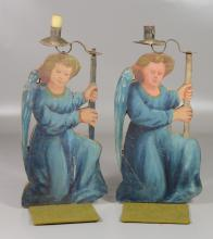 Pair painted wood candleholders of kneeling angel figures, kneeling, 12
