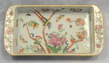 Chinese Export Famille Rose enameled celadon porcelain rectangular serving bowl, 14