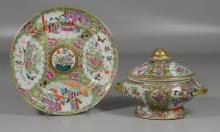 (2) Pieces of Chinese Export Rose Medallion porcelain to include: a small tureen and a shallow soup bowl, soup bowl is 9 5/8