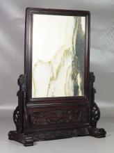 Chinese teakwood mounted marble dream stone table screen, overall about 27 1/2