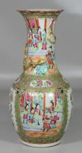 Large Chinese Export Rose Medallion porcelain vase with entwined dragons, 18