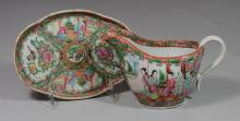 (2) Pieces of Chinese Export Rose Medallion porcelain to include: a sauce boat and small oval platter, platter is 7 1/2