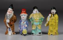 (4) Figural porcelain Chinese snuff bottles, one signed, tallest 3 3/8