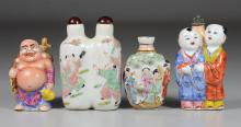(4) Porcelain Chinese snuff bottles, double with painted dancers, 2 children, Hotai (signed), relief figural, tallest 3