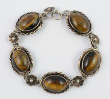 LaPaglia hand wrought sterling & tiger eye bracelet, 7-1/4
