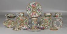 (18) Pieces Chinese Export Rose Medallion and Famille Rose porcelain to include: two miniature teapots with no lids, a spill vase wi...