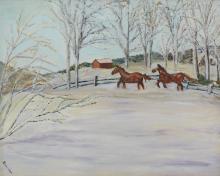 Charlotte Sheridan Morrissey (American, NY, 1920-1999), oil on board, Horses in Winter, signed lower left, 24