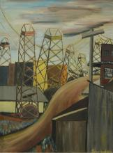 Charlotte Sheridan Morrissey (American, NY, 1920-1999), oil on canvas, Industrial Scene, signed lower right, 24