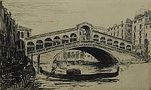 Margaret Wright (American, 1869-1936), etching, Rialto Bridge, Venice, pencil signed lower right, 2-7/8