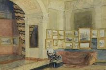 Sadie Mary Morse (American, 19th/20th Century), watercolor, Art Salon, signed and dated 1902 lower right, 13