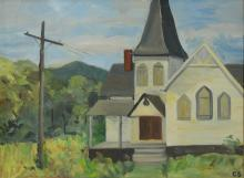 Charlotte Sheridan Morrissey (American, NY, 1920-1999), oil on canvas board, Church in the Country, initialed lower right, 18