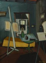 Charlotte Sheridan Morrissey (American, NY, 1920-1999), oil on canvas, Artist's Studio, signed lower right, 24