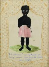 Black Americana (19th Century), cut silhouette figure of an African American girl in pink striped skirt, standing on green grassy pa...