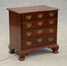 Benchmade mahogany Chippendale style bachelor's chest, rectangular molded top with notched corners, base with 4 graduated drawers ra..