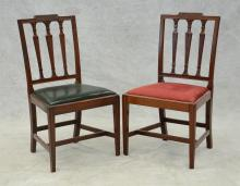 Pair of carved mahogany Sheraton dining room chairs, molded front legs, probably New York, c 1790, 36-1/2