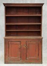 Primitive 1 piece pine wall cupboard with open top, 2 doors in base, older red paint remnants, 18th c, American, 75 1/2