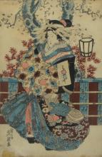 Japanese print, lady with turtle, sight 14