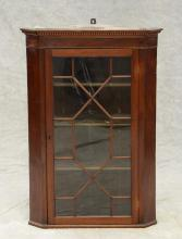 Mahogany hanging corner cupboard, single door with individual glazed panels, c 1800, 40