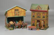 Dollhouse and barn toy lot, to include a lithograph paper house, barn with hay loft, together with wagon, hay bails, small shed, 2 h...