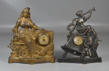 2 Cast iron figural advertising clocks: TL Davies & Company, Carpets, Dry good, Cloaks; Freundlich Clothing, depicting liberty and a...