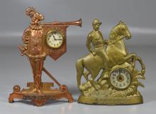 2 Cast iron figural advertising clocks: St. Joseph Supply Company (St Joseph MO), Joseph Myer