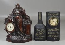 2 Cast iron figural advertising clocks: Ohio Farmer, by Regent Manufacturing Company (Chicago , IL), pat January 1896, 12-1/2