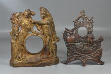 2 Cast iron figural advertising clock frames: Jalaneer (St Paul, MN), Columbus 1892 by Golden Novelty Manufacturing Company (Chicago...