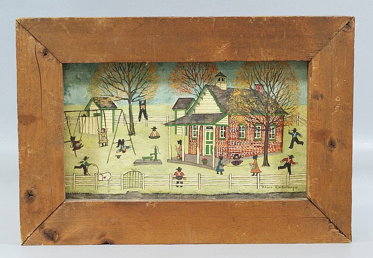 Dolores Hackenberger, American, PA, b 1930, o/canvas board, Amish Children Playing outside Schoolhouse, 7