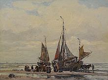 Wilhelm Hambuchen (German, 1869-1939), oil on canvas, Fishing Boat Fleet Returning to Katwijk on the North Sea, signed lower right, ...