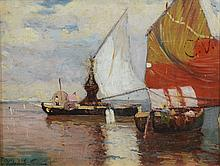 May be Yohanon Simon, Israeli, 1905-1976, oil on board, Fishing Boats at Dusk, signed indistinctly lower left, 10 1/4