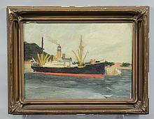 Style of Edward Hopper, oil on board, Dutch Freighter, 9 1/2
