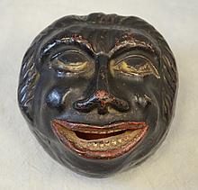 Redware bank, Black Americana face, original paint, c 1860, 3