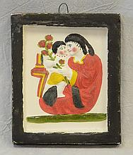 Chalkware mother & child portrait, hand painted, c 1860, 5-3/4