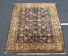 Keshan Deep Blue Field Carpet, 8' x 10'2