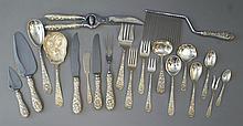 111 pcs Stieff Rose sterling silver flatware c/o 25 teaspoons, 13 ea salad forks, soup spoons, 12 ea HH dinner knives, dinner forks,...