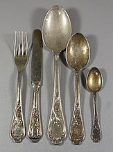 46 pcs of Italian 800 Silver Flatware, comprised of 11 Dinner knives, 12 dinner forks, 11 soup spoons, 11 demitasse spoons, 1 servin...